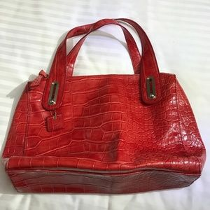 Liz Claiborne Red faux crocodile hand bag